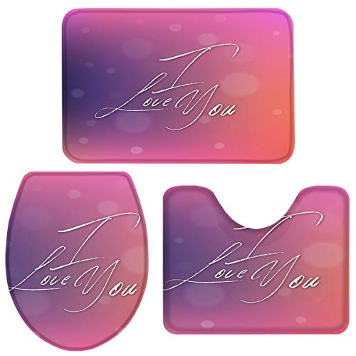 Bath Rug Sets 3 Piece for Bathroom Short Plush Mat Set English Words with Ombre Background: I Love You Includes Bath Mat, Toilet Lid Cover with Rubber Backing and U-Shaped Contour Mat