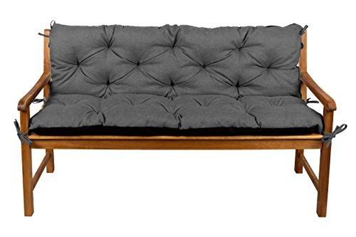 Bankauflage Bankkissen Sitzkissen + Rückenlehne für Hollywoodschaukel Gartenpolster L (170x50x50, 2 Dunkelgrau)
