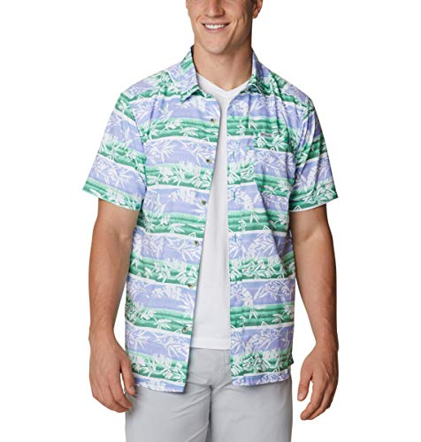 Columbia Men's Super Slack Tide Camp Shirt, Short Sleeve, Moisture WIcking, Winter Green Ombre Fish Stripe, 6X Big