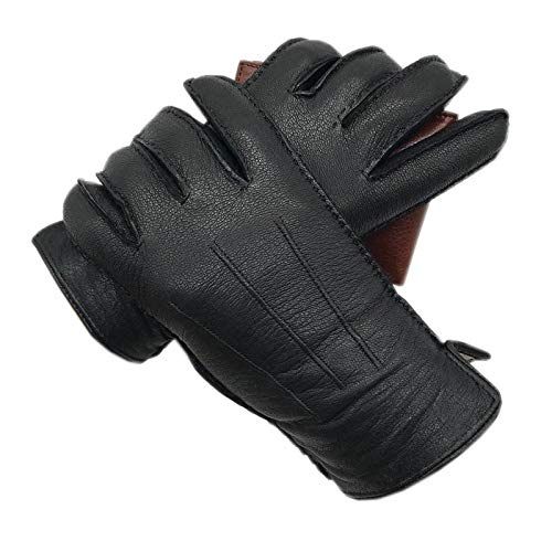 Winter Herren Kunstlederhandschuhe Futter Nähen Winterhandschuhe Warm halten Fahren Reiten Outdoor 9.5 Schwarz