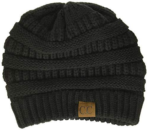 Trendy Warm Chunky Soft Stretch Cable Knit Beanie Skully, Black