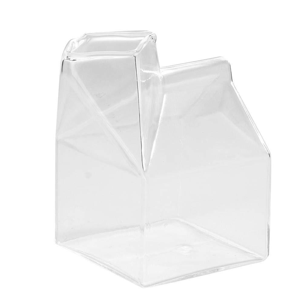 Vidrio transparente Leche Recipiente de leche Novedad Forma de la casa Tazas de agua con leche Mini tazas de café Taza de jugo Recoger botella Vertedor Recipiente de cartón 250 ml/8 oz: