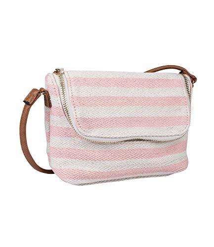 SIX Damen Handtasche, Mini Bag zum umhängen im maritimen Streifenlook, grob gestrickte Baumwolle in beige und rosa, Henkel aus veganem Leder (726-740)