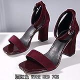 WAXFAS EIN Wort Gürtel Damen Sandalen High Heels sexy Dicke Ferse Damenschuhe Fairy Style Schwarze Wortschnalle Damenschuhe