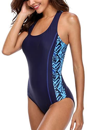 ALove Womens One Piece Sports Swimsuits Fitness Racerback Swimwear Navy Large