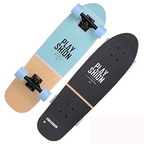 VOMI Cruiser Skateboard Complete Retro Surfskate 28' Skate para Adultos Adolescentes Niños Niñas, Unisex Adulto Profesional Tabla de Arce para Profesionales Principiantes