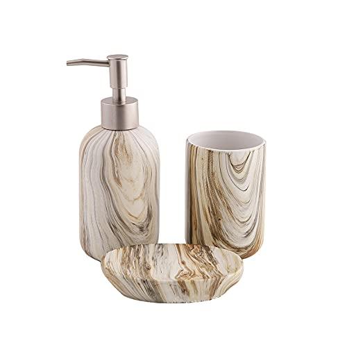 FJSC Set di Accessori per Il Bagno 3 Pezzi Elegante Set di Accessori per Il Bagno in Ceramica Il Set per Il Bagno Include Dispenser di Sapone, Bicchiere, Accessori per Portasapone per La