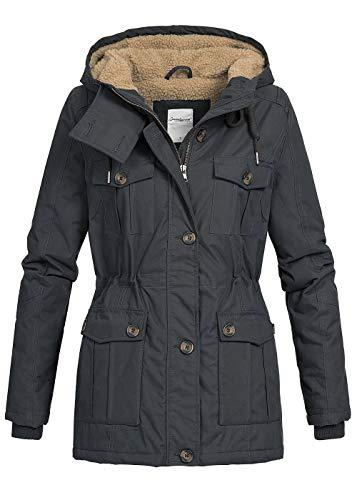 Seventyseven Lifestyle Damen Winter Parka Jacke Kapuze Teddyfell 6 Taschen schwarz, Gr:XL
