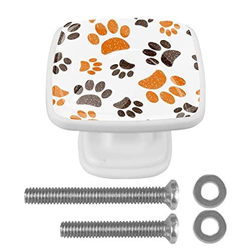 Pomo de armario Pata blanca Pomos Cuadrados, 4 x Tirador de Cocina, Muebles para Armario, Puerta Armario, Gabinete, Cajón, Puertas de Muebles, Zapateros 3x2.1x2 cm