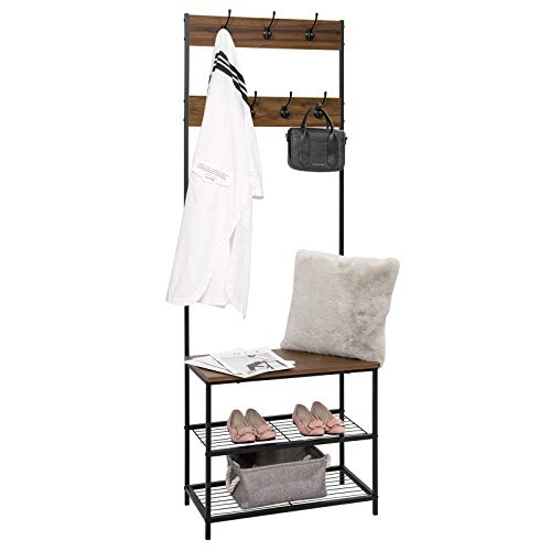 eSituro Heavy Duty Clothes Rail, Metal Coat Stand Rack with 7 Hanging Hooks and 3-Tier Storage Shelves, Dark Beech
