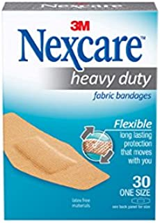 Nexcare Heavy Duty Flexible Fabric Bandages, Dirtproof, One Size, 30 Count Packages (Pack of 4)