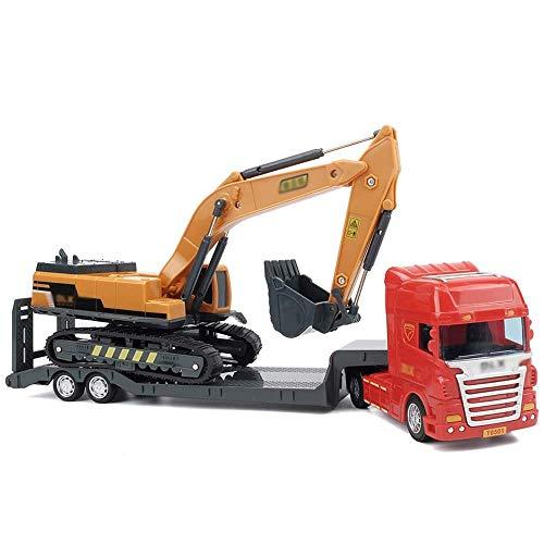 Conjunto de juegos de vehículos de juguete Modelo de juguete de combinación Niño Simulación Inercia Adelante Vehículo de ingeniería Juguete Remolque de remolque Carretilla elevadora de plataforma Exc