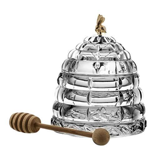 Crystaljulia 2001 - Contenitore per miele con cucchiaio, in cristallo al piombo, trasparente
