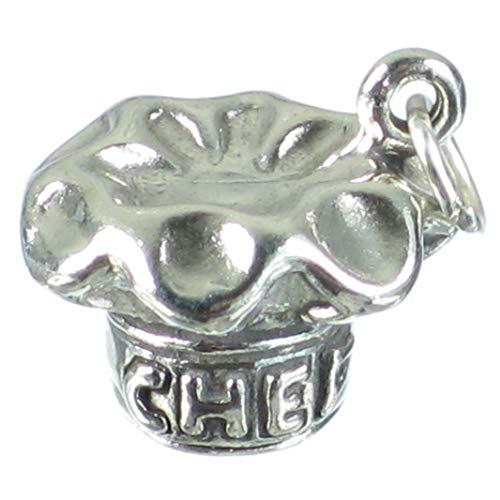Köche Hut Sterling Silber Charm 925X 1Chef Hüte Toque Dodin Bauschige sslp3293