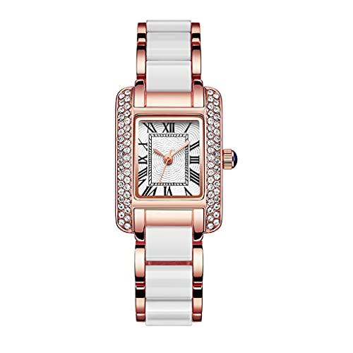 DSJMUY Reloj de cuarzo para mujer con pantalla analógica y pulsera de acero inoxidable, resistente al agua, para mujeres, niñas, adolescentes, moderno, elegante, único y brillante reloj para niñas