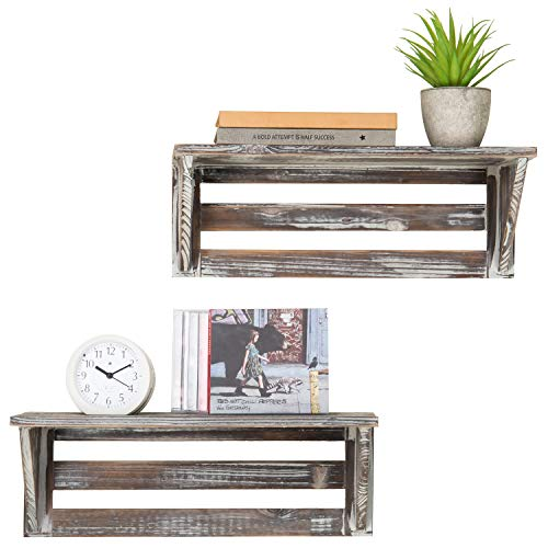 MyGift Rustic 16Inch Torched Wood WallMounted Storage Display Shelves Set of 2