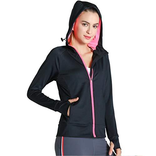 F-S-B Frauen-Sportjacke Fitness Top schnell trocknend atmungsaktiv Reißverschluss Hoodie windundurchlässige Lange Hülse dünne Yoga-Kleidung,A,XL