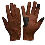 eGLOVE eQUEST GripPro Leather Touchscreen Horse Riding Gloves (Tan, Large)