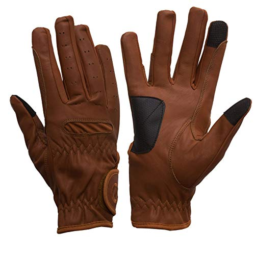 eGLOVE eQUEST GripPro Leather Touchscreen Horse Riding Gloves (Tan, XX-Large)