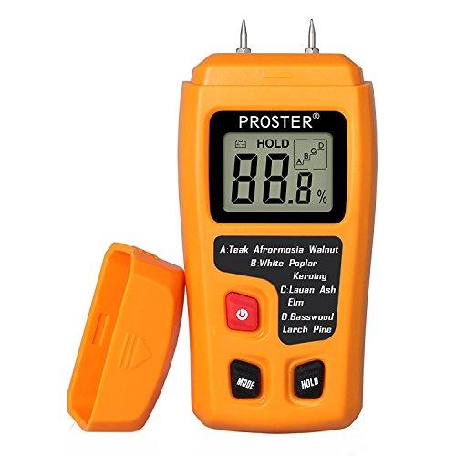 Medidor de Humedad, Proster Humidímetros LCD Medidor de Humedad de Madera Digital Detector 2 Pin Apagado Automático para Materiales de Madera