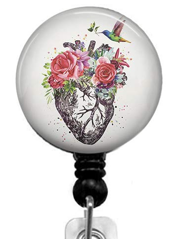 Flowers and Birds on The Heart Badge Reel,Retractable Name Card Badge Holder with Alligator Clip, Medical MD RN Nurse Badge ID,Office Employee Name Badge, Badge Holder