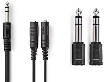 KnnX 28055 6,35 mm Macho a 2 x 6,35 mm Hembra Longitud: 20 cm para Auriculares o Altavoces Cable Divisor Adaptador de Audio est/éreo
