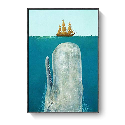 WANGQQ Ballena Creativa Animal de Dibujos Animados Pintura Minimalista Moderna fobia al mar Animal del mar Profundo decoración de la habitación de los niños pintura-50x70CM sin Marco
