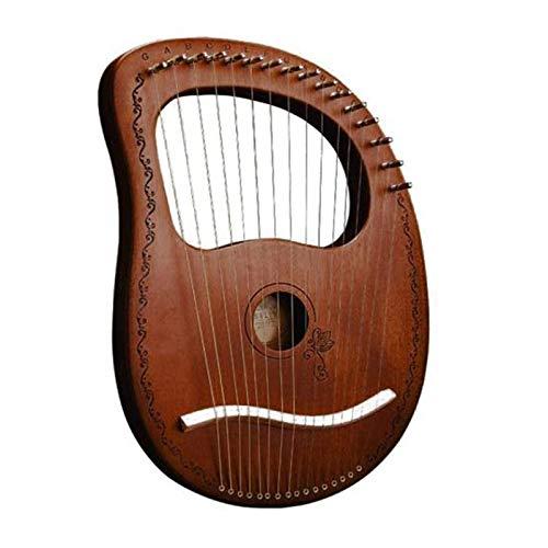 Dcolor Lyre Harp 16 Saiten Harfe Tragbare Kleine Harfe mit Haltbaren Stahl Saiten Holz Saiten Musik Instrument, Kaffee Farbe