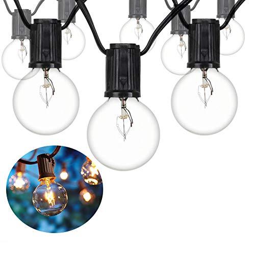 Lichterkette Außen, Lichterkette Gluehbirne Aussen Wasserdicht G40 7.6 Meter 25er Globe Birnen für Garten Hochzeit Party Hinterhof-Warmweiß