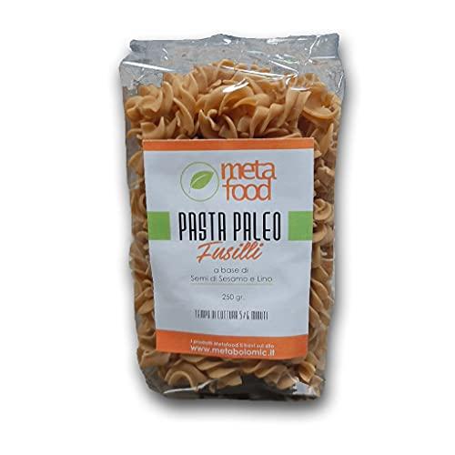 MetaFood - Pasta Paleo - Fusilli a base di Farina di Semi di Sesamo e di Lino. Ottimo sostituto della pasta tradizionale. Senza Glutine. Senza grano nè legumi. 250 g
