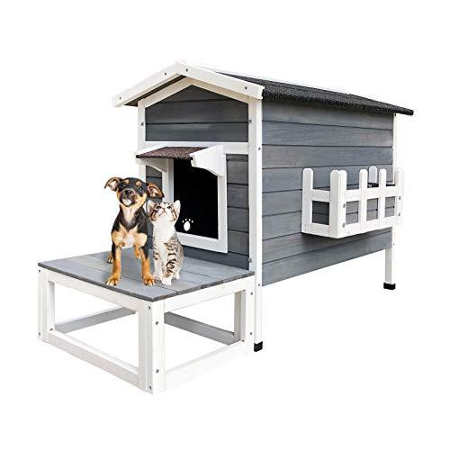 Wiltec Wetterfestes Katzenhaus aus Holz 58 x 73.6 x 104.9 cm, Lodge mit Terrasse und Fluchttür