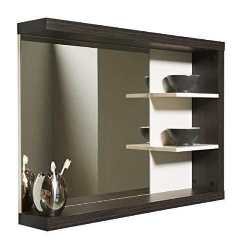 Trendteam Specchio parete del bagno, Piastra di tensione, Bianco e Argento Fumo Imitazione, vetro;legno