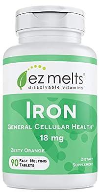 EZ Melts Iron, 18 mg, Fast Melting Tablets