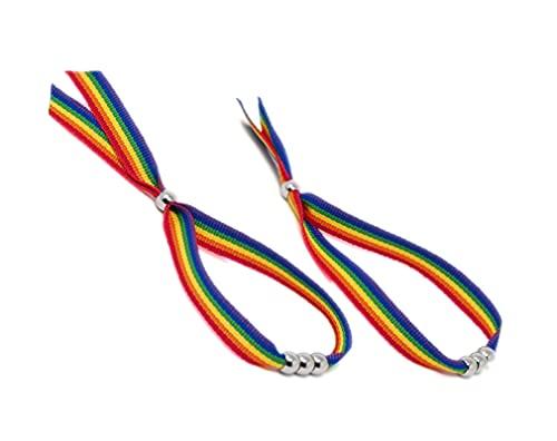 GOS Best Supplies 2 Pulseras De Tela con Abalorios Arcoiris Multicolor Rainbow Bandera LGTB Orgullo Gay Pride