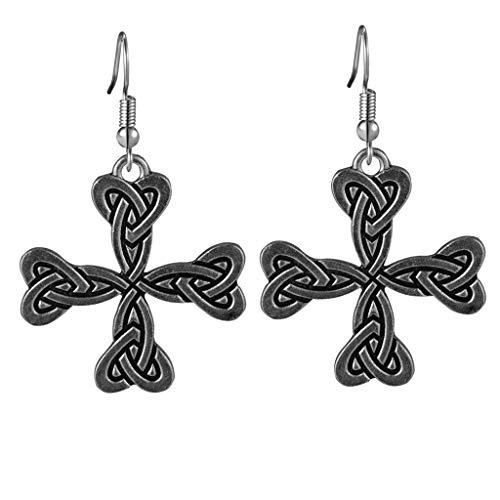 Celtic Knot Heart Cross Dangle Earrings