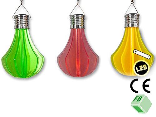 Lot de 3 ampoules LED avec fonction solaire en frühlingsfrischen couleurs : rouge, jaune, vert, à suspendre, en plastique, décoration de jardin Garden Party, balcon, terrasse