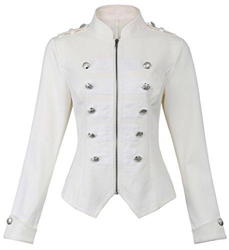 Kate Kasin Womens Victorian Steampunk Ringmaster Jacket Military Blazer (Off-White, Large)