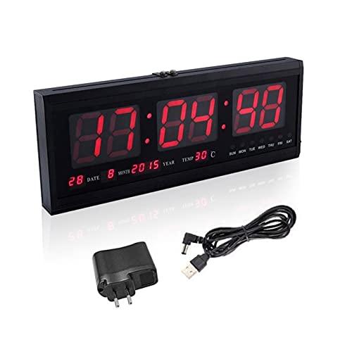 ZJchao Digitale Orologio Da Parete, LED Orologio Da Parete Con Temperatura E Data Per Ufficio, Salotto Utilizzato Come Orologio Da Parete E Orologio Da Tavolo (Rosso)