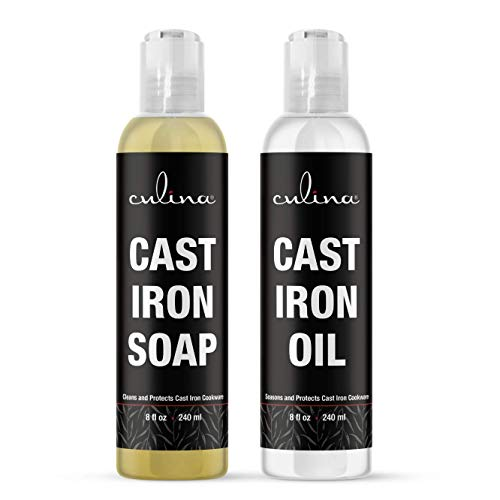 Cast-Iron Cleanser Kosher OU certified 8 oz Bundled with Cast-Iron Conditioner 8 oz by Culina Kosher OU Certified