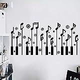 Sticker mural avec inscription en anglais « Notice de musique » - Pour chambre d'enfant - Pour chambre à coucher - 56 x 33 cm