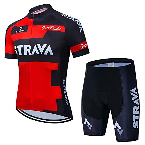 Radsport Trikot Herren Kurzarm Racing Club Strava, Summer Road Fahrrad Outdoor Bike Trikot Anzug PRO, Quick Dry Compression Cycle Combo Set (Size : Medium)