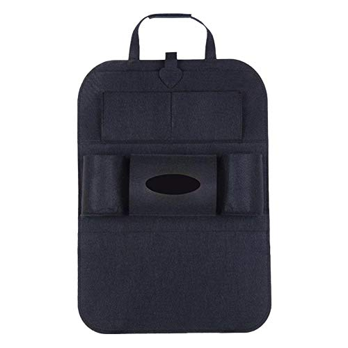 Jingyuu - Organizador de coche, impermeable, protector de espalda para tablet, soporte para pantalla táctil, varios bolsillos, incluye caja de pañuelos, organizador para asiento trasero, fieltro, color beige, color negro