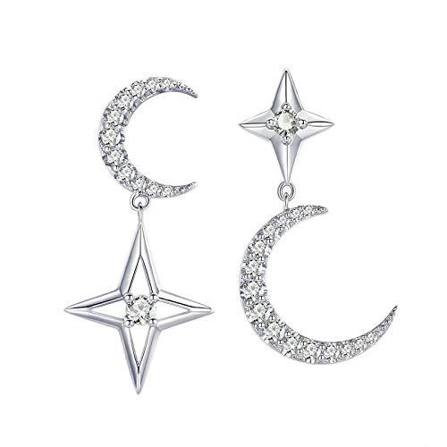 Pendientes Colgantes De Circonita Transparente Con Estrellas De Luna De Plata De Ley 925 Para Mujer, Joyería De Plata De Estilo De Compromiso Y Moda