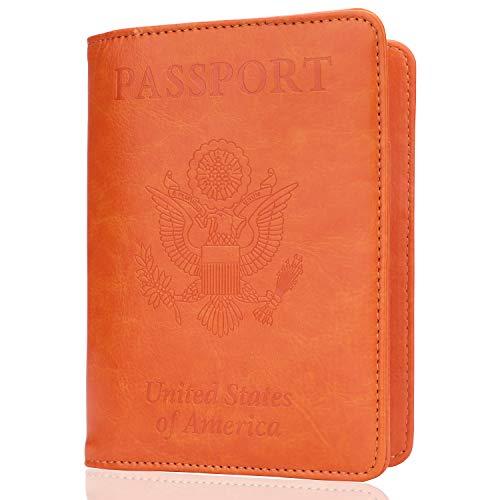 GDTK Leather Passport Holder Cover Case RFID Blocking Travel Wallet (Orange)