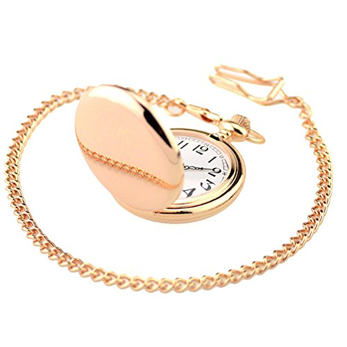 WIOR Classic Smooth Vintage Pocket Watch Sliver Steel Men Watch with 14'' Chain for Xmas Fathers Day Gift (Rose Gold)