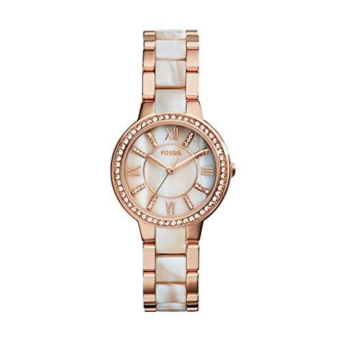 Fossil Women's Virginia Quartz Stainless Steel Horn Acetate Dress Watch, Rose Gold (Model: ES3716)