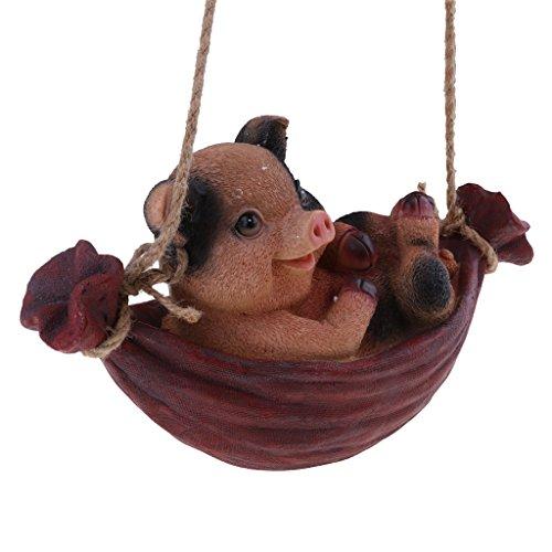 D DOLITY Figur AFFE Schaf Hase Panda auf Schaukel Ornament für Tisch Zimmer Garten Deko, auch als Geschenk - Schwein # 2