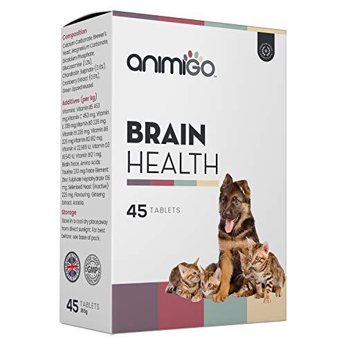 Animigo Brain Health Tabletten - Gehirn Unterstützung & Gedächtnis Komplex für Hunde und Katzen mit Glucosamin & Chondroitin Extrakt - Vitamine für Gesundheit von Hund & Katze - 45 Kapseln hochdosiert