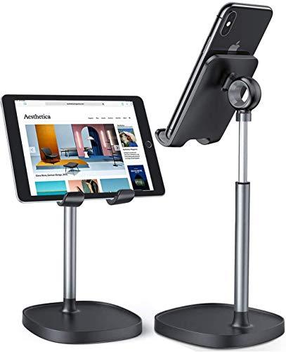 LISEN Tablet Ständer Handy Ständer, Verstellbar Handy Halterung, Dickes Gehäuse Freundlich Handyhalter Tisch Ständer, Tablet Ständer kompatibel mit iPad,iPhone,Galaxy, Handy, Tablet,4-11 Zoll (Black)