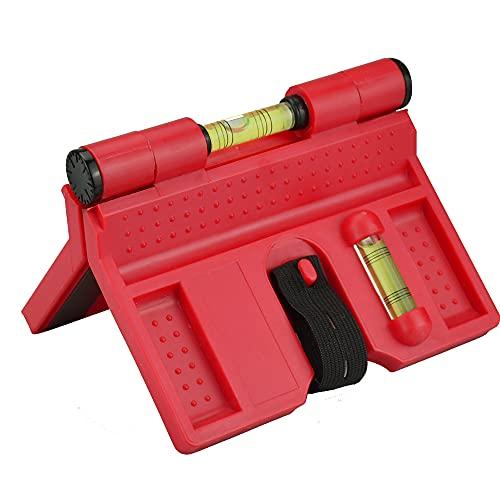 TANCUDER Wasserwaage ABS Pfosten-Wasserwaage Einstellbare Winkelwasserwaage Pfosten-Winkel-Wasserwaage für Rohrinstallation, Bild hängen, Maurerarbeiten, Zimmerei (Rot)